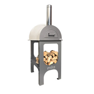 The Mila 60 pizza oven in light cream with legs