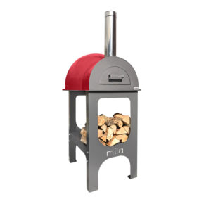 The Mila 60 pizza oven in red with legs